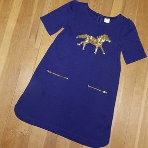 Girls size 6 navy dress by Gymboree w/gold sequins